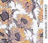 seamless pattern of sunflowers. ... | Shutterstock . vector #728148925