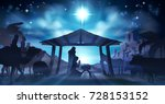 christmas nativity scene of... | Shutterstock .eps vector #728153152
