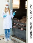 Small photo of Adult female veterinarian in white coat and facial mask with syringe and vial in pigsty