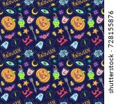 halloween patch badges pattern. ... | Shutterstock .eps vector #728155876