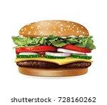 vector realistic hamburger...   Shutterstock .eps vector #728160262