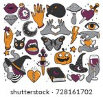 halloween set of patches with... | Shutterstock .eps vector #728161702