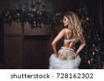 beautiful sexy blond woman with ... | Shutterstock . vector #728162302