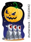 halloween pumpkin and yelling... | Shutterstock .eps vector #728163442