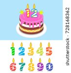 birthday cake with number... | Shutterstock .eps vector #728168362