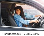 girl driving a car is in an... | Shutterstock . vector #728173342