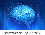 human brain is surrounded by a...   Shutterstock . vector #728177542