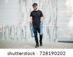 hipster handsome male model... | Shutterstock . vector #728190202