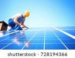 worker installing solar panels... | Shutterstock . vector #728194366