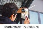 technician installing wireless... | Shutterstock . vector #728200378
