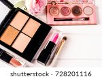 cosmetic makeup products on... | Shutterstock . vector #728201116