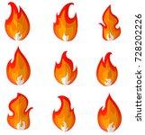 flame  fire  bonfire  cartoon...   Shutterstock .eps vector #728202226
