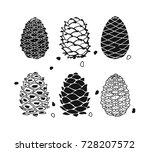 cedar cone set  sketch for your ... | Shutterstock .eps vector #728207572