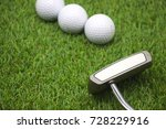 putter with golf balls are on... | Shutterstock . vector #728229916