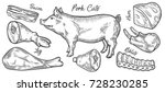 pig  pork meat ham cuts  parts  ... | Shutterstock .eps vector #728230285