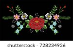 neckline flowers embroidery 2 | Shutterstock .eps vector #728234926