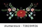neckline flowers embroidery 2   Shutterstock .eps vector #728234926
