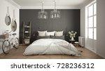 scandinavian minimalist bedroom ... | Shutterstock . vector #728236312