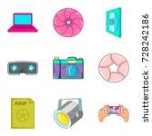tv series icons set. cartoon... | Shutterstock .eps vector #728242186