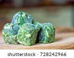 Frozen Spinach On Wooden...