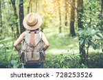 happy woman tourist to travel... | Shutterstock . vector #728253526