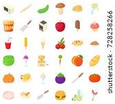 spaghetti icons set. cartoon... | Shutterstock .eps vector #728258266