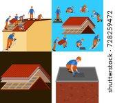 roof construction worker repair ...   Shutterstock . vector #728259472