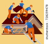 roof construction worker repair ... | Shutterstock . vector #728259478