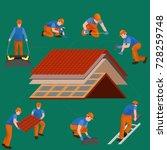 roof construction worker repair ... | Shutterstock . vector #728259748