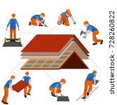 roof construction worker repair ... | Shutterstock . vector #728260822