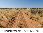Sandy Red Dirt Road With Tire...