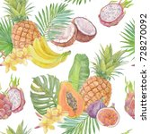 seamless pattern with tropical... | Shutterstock . vector #728270092