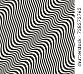Diagonal curved wavy lines pattern. Vector seamless texture with black and white waves, stripes. Dynamical 3D effect, illusion of movement. Modern abstract monochrome background. Stylish repeat design | Shutterstock vector #728272762