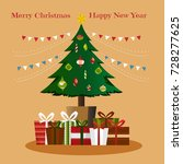 christmas tree with gifts.... | Shutterstock .eps vector #728277625