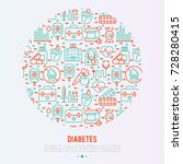 diabetes concept in circle with ... | Shutterstock .eps vector #728280415