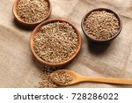 bowls and spoon with hemp seeds ... | Shutterstock . vector #728286022