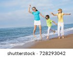three happy children jumping on ... | Shutterstock . vector #728293042
