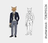 fox dressed up in vintage... | Shutterstock .eps vector #728293126