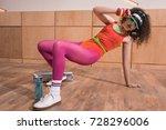 stylish woman in bright body... | Shutterstock . vector #728296006
