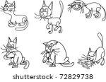 set of funny cartoon cats ... | Shutterstock .eps vector #72829738