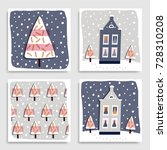 collection of 4 christmas card... | Shutterstock .eps vector #728310208