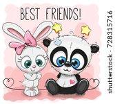 cute panda and rabbit girl on a ... | Shutterstock .eps vector #728315716