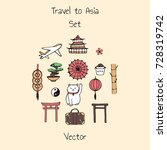 colorful vector travel to asia... | Shutterstock .eps vector #728319742