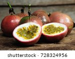 passion fruit on old wooden... | Shutterstock . vector #728324956