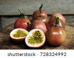 passion fruit on old wooden... | Shutterstock . vector #728324992