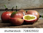 passion fruit on old wooden... | Shutterstock . vector #728325022