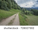 Small photo of South of Predazzo village, Fiemme valley countryside views of green meadows, trees, farms and afforested mountains, Latemar group, Dolomites, Trento, Trentino, Alto Adige, South Tyrol, Italy