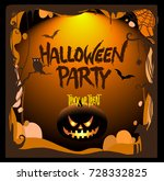 halloween party poster design ... | Shutterstock .eps vector #728332825