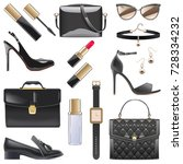 vector black female accessories | Shutterstock .eps vector #728334232