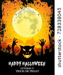 happy halloween poster with... | Shutterstock .eps vector #728338045